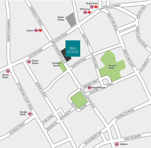 Map to BMA House, Woburn Place. Image credited to VenueFinder.com